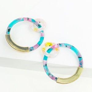 CLOSET REHAB Jewelry - Linked Hoop Earrings in Teal